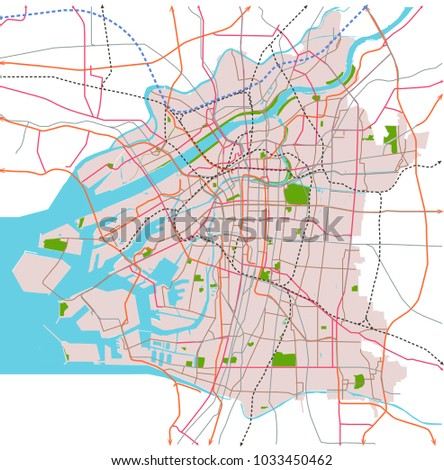 Osaka Japan Transportation Vector Map Stock Vector 1033450462 ...