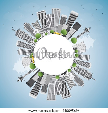 Osaka Skyline with Gray Buildings, Blue Sky and Copy Space. Vector Illustration. Business and Tourism Concept with Modern Buildings. Image for Presentation, Banner, Placard or Web Site.