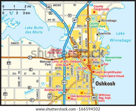 Oshkosh Wisconsin Area Map Stock Vector 166594502 Shutterstock