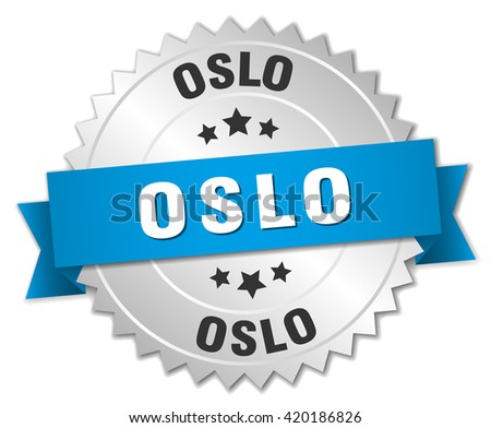 Oslo round silver badge with blue ribbon