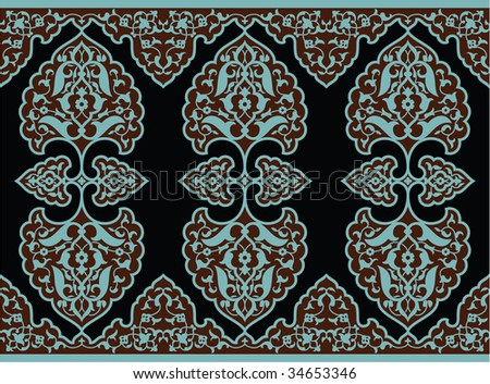 Osman Seamless Floral Border - stock vector