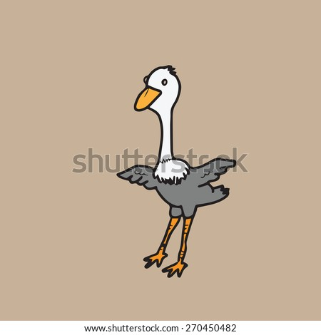 Ostrich character drawing cartoon vector - stock vector