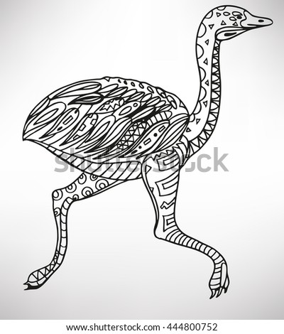 ostrich. Hand-drawn with ethnic pattern. Coloring page - isolated on a white background. Zendoodle patterns. Vector illustration.