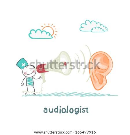 otolaryngologist yells into a megaphone on patient - stock vector