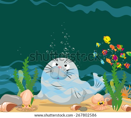 otter is under a sea water - stock vector