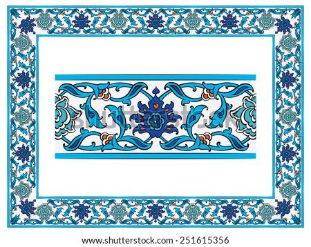 Ottoman islamic ceramic floral vector border stock vector ottoman islamic ceramic floral vector border frame tile thecheapjerseys Image collections