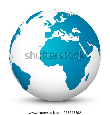 Our Beautiful Blue Planet in Abstract Design.White Globe with Beautiful Fresh Blue Continents on White Background. 3D Vector Illustration. - stock vector