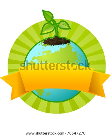 Our planet Earth and a little plant - a symbol of environmental protection - stock vector