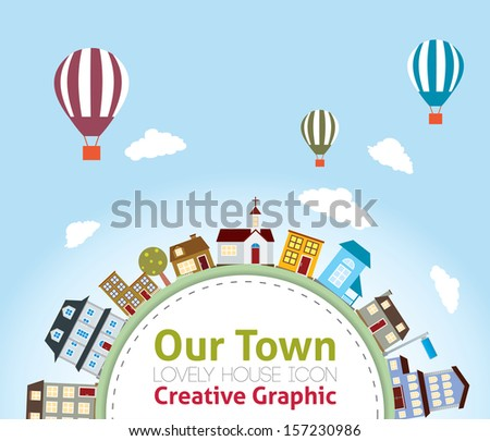 Our Town with Lovely House Icons  (hot air balloon in the sky) - stock vector