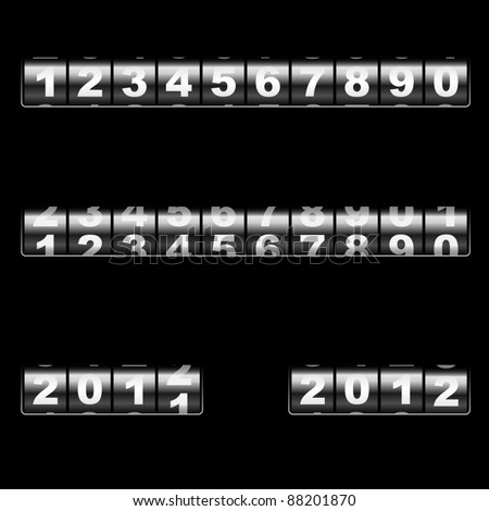 Out-dated universal mechanical counter vector template with two examples of usage – changing 2011 to 2012 year and 2012 year. Easy to edit and combine any numbers. - stock vector