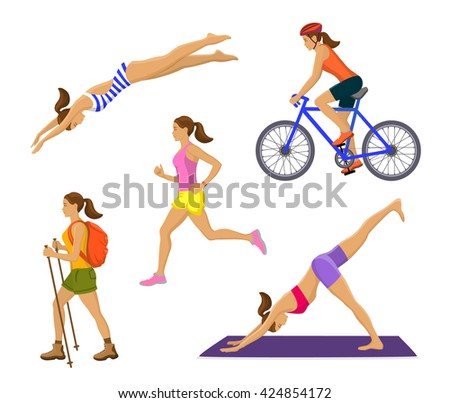 Outdoor Activities for Woman. Healthy Active Lifestyle. Woman Swimming, Trekking, Running, Jogging, Cycling, Doing Yoga - stock vector