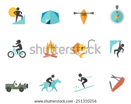 Outdoor activity icons in flat color style - stock vector