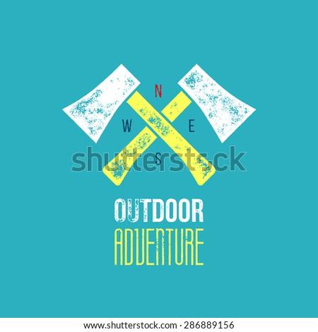 Outdoor adventure t-shirt logo design - vector illustration - crossed axes on light blue background with outdoor adventure sign and era - stock vector
