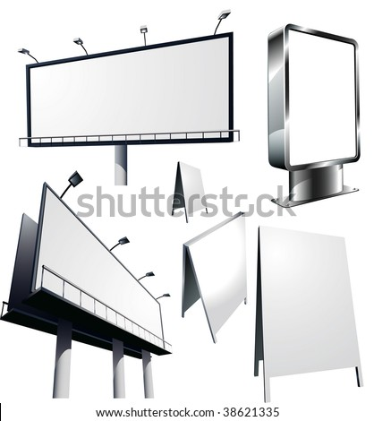Outdoor advertising constructions. Vector. - stock vector