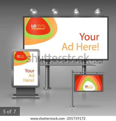 Outdoor advertising design for company with color circles. Elements of stationery. - stock vector