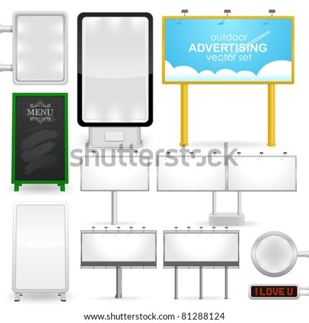 outdoor advertising, various billboards, standard size, detailed vector illustration - stock vector