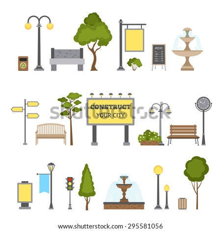 Outdoor and city landscape design object set isolated vector illustration - stock vector