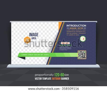Outdoor Banner or Horizontal Website Banner, Advertising Design - stock vector