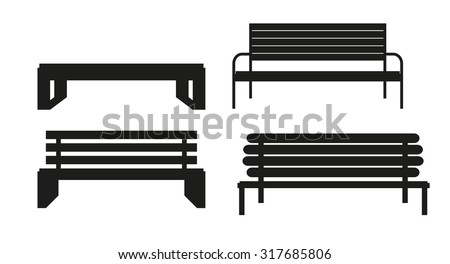 Outdoor Bench Icon Set Vector Illusrtarion Eps10 - stock vector