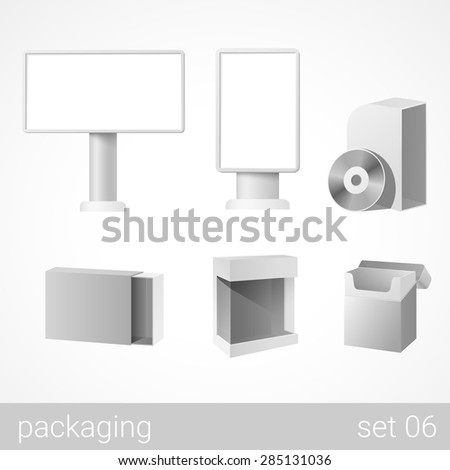 Outdoor bigboards and retail plastic and carton cardboard marketing CD DVD software box cigarettes sweet candy package set. Blank white packaging objects isolated on white vector illustration. - stock vector
