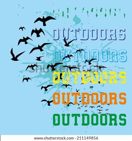 outdoor birds style vector art - stock vector