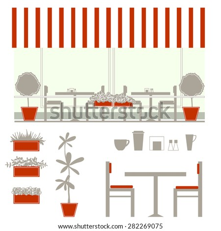Outdoor Cafe With Awning Details Furniture Dishes Pots Plants