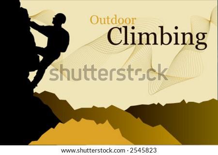 Outdoor climbing - vector silhouette of a climber - stock vector