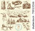 outdoor collection-original hand drawn set - stock vector