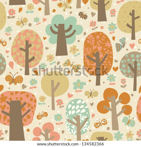Outdoor concept seamless pattern. Cartoon trees and butterflies in vector background. Seamless pattern can be used for wallpaper, pattern fills, web page backgrounds, surface textures. - stock vector