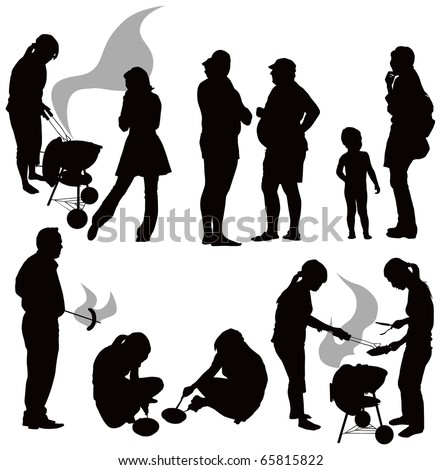 Outdoor grill. Black people silhouettes having picnic isolated on white background. Gray smoke. - stock vector