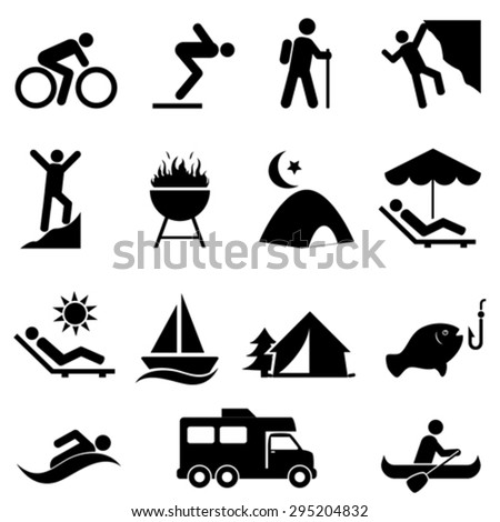 Outdoor, leisure and recreation icon set - stock vector