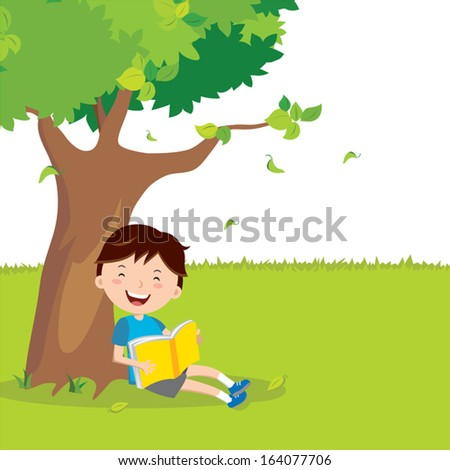 Outdoor reading. A boy is reading under a tree. - stock vector