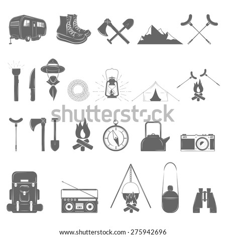 Outdoor Recreation Vector Icon Set. 24 elements. - stock vector