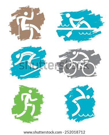 Outdoor sports grunge icons. Set of colorful grunge icons with outdoor sport activities. Vector illustration.  - stock vector