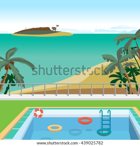 Outdoor swimming pool on the beach in the tropics. Vector cartoon flat illustration.