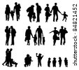 Outdoor walking Family silhouette. Mother, father with children. Isolated on white, vector - stock vector
