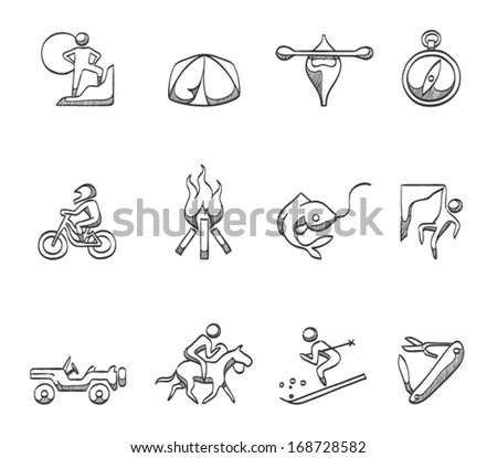 Outdoors activity icons in sketches - stock vector