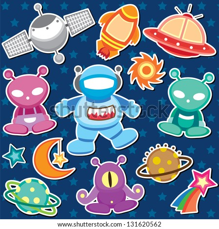 outer space clip art - stock vector