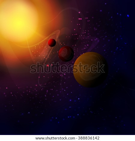 Outer space,meteors fly to the planet and a lot of stars scattered around the space. Space Nebula . - stock vector