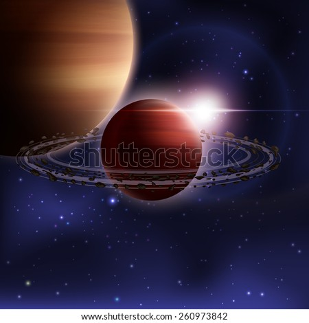Outer space realistic background with saturn planet with orbit vector illustration - stock vector