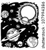 Outer Space - Retro Clipart Illustration - stock vector