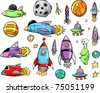 Outer Space Rocket Ship Doodle Sketch Vector Illustration Set - stock photo