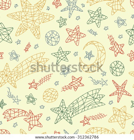 Outer space vector seamless pattern. Vintage Space wallpaper. Sun, Moon (Crescent), Stars, Comets