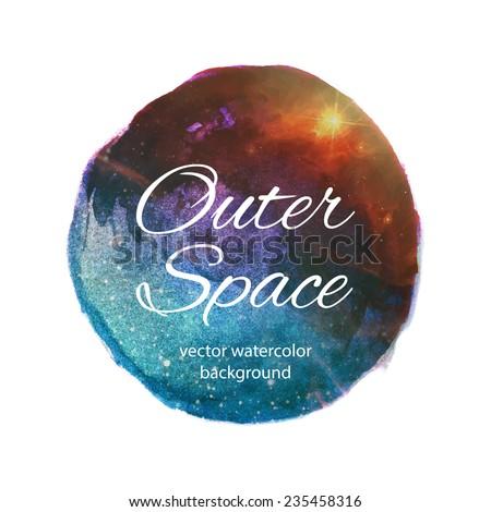 Outer space vector watercolor design - stock vector