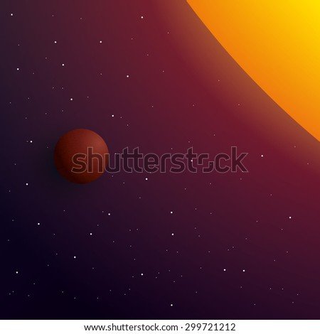 Outer space with sun and planet, vector illustration - stock vector
