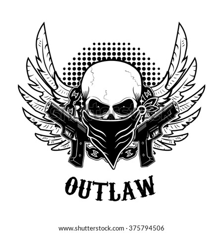 Outlaw t-shirt print design template. Skull with two guns. Vector design elements for label, logo, emblem, poster, t-shirt print template. - stock vector