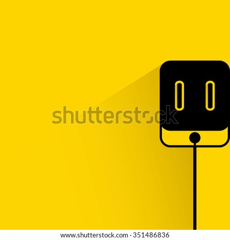 outlet, plug icon, vector outlet on yellow background, electrical outlet  - stock vector