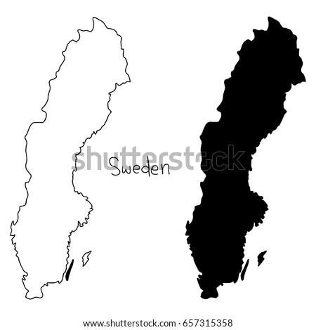 Outline Silhouette Map Sweden Vector Illustration Stock Vector - Sweden map outline