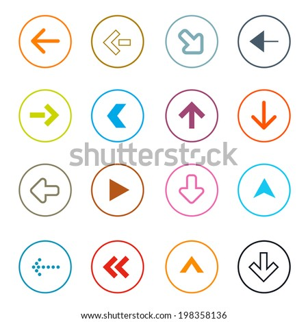 Outline Arrows Set in Circles Vector Illustration - stock vector