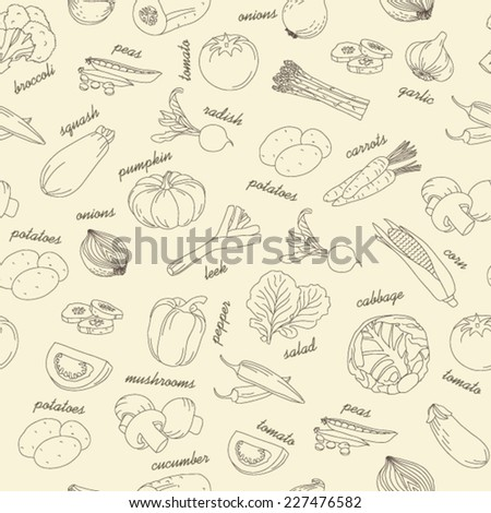 Outline assorted collection of vegetables seamless pattern with lettering description  - stock vector